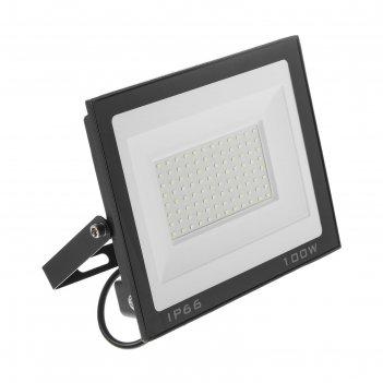 Прожектор светодиодный luazon lighting 100 вт, 7700 лм, 6500к, ip66,  220v