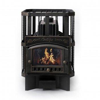Печь банная чугунная «сибирь 32», каминная дверца со стеклом, кованная сет