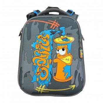Рюкзак каркасный hatber ergonomic 37 х 29 х 17, для мальчика graffiti, сер