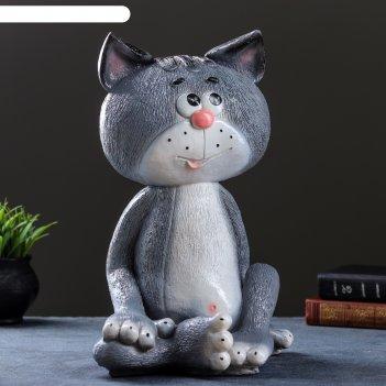 Копилка кот сидя большой серый 41см
