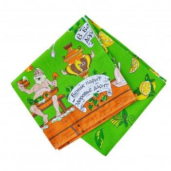 Полотенце вафельное для бани слпвн-3 70х145 см, зеленый, хлопок 100%, 176г