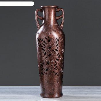 Ваза напольная ксения антика хром, бронза