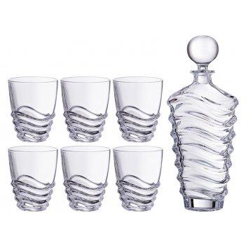 Набор для виски волна 7пр.: штоф+6 стаканов 750/300 мл. высота=25/11 см.