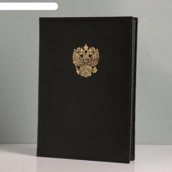 Папка с российским орлом бумвинил, натуральная кожа, черный а4