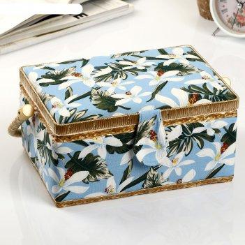 Шкатулка для рукоделия белые лилии на голубом 12х24х18 см