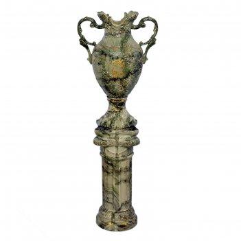 Ваза напольная форма астория большая на колонне 170 см, цвет малахит зелен