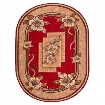 Ковер овальный фортуна, размер 200х300 см, цвет красный 31/2, войлок 195г/
