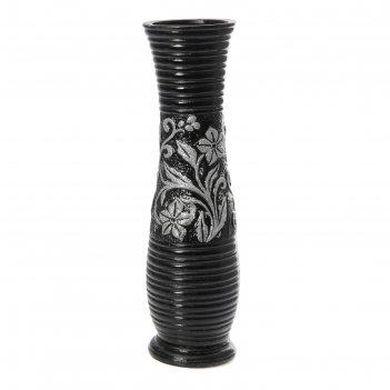 Ваза керамика напольная 60 см букет ромашек черная