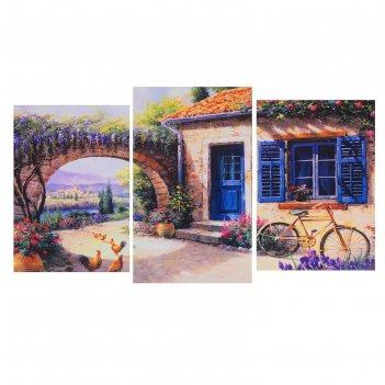 Модульная картина на подрамнике дворик, 100x53 см
