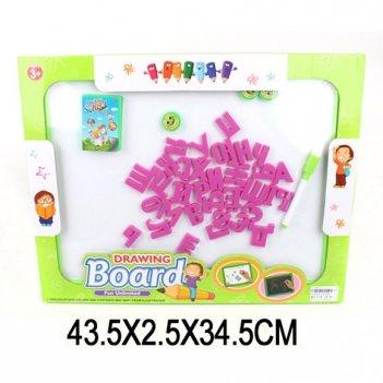 Доска для рисования 34*43см с набором букв и цифр (маркер.+мел), в ассорт.