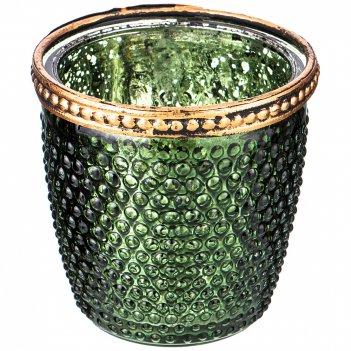 Подсвечник с металл.элементами, д=7,5см, в=7,5см, зеленый перламутр (кор=3