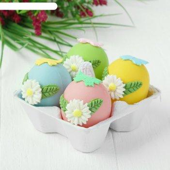 Яйца для декорирования «цветочки с бабочками», набор 4 шт, размер 1 шт: 6x