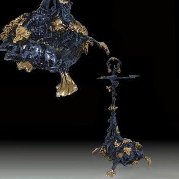Зонтовница из бронзы собака