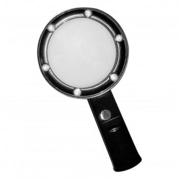Лупа kromatech ручная круглая 5х, 75 мм, с подсветкой (6 led), черная zb66