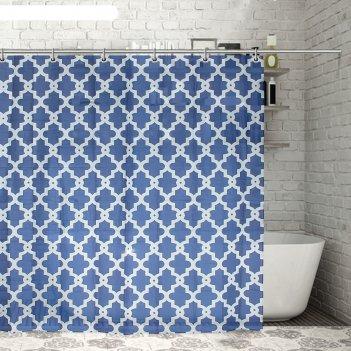 Штора для ванной 180x180 см марокко, полиэстер, цвет синий