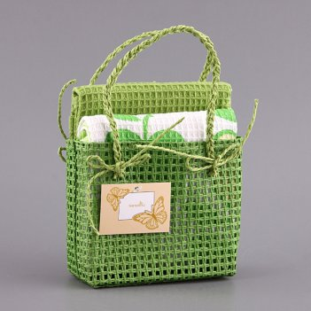 Набор полотенец из 2 шт. 58*39 см.зеленых хлопок в...