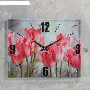 Часы настенные, серия: цветы, розовые тюльпаны, 40х50  см, микс