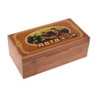 Лото в деревянной коробке, мешок, фишки-бочки, 24 карточки