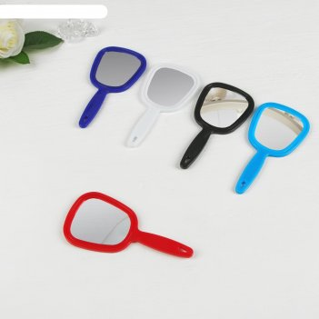 Зеркало с ручкой пластик полуовал одностор 7,5*15,5см микс пакет
