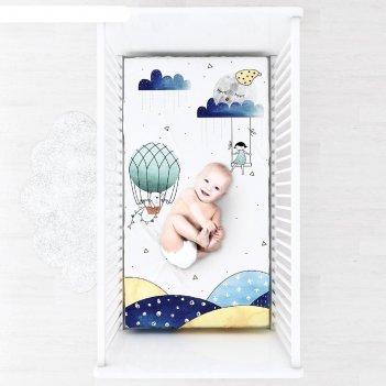 Простыня на резинке, размер 60 x 120 см, принт sweet dreams