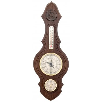 Метеостанция бм-74 56х20см,  массив дуба (смич)часы, барометр, термометр
