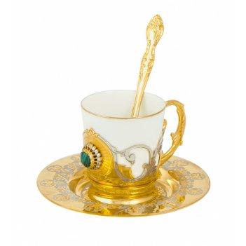 Набор кофейный малахит  (тарель d 110, чашка, ложка) златоуст