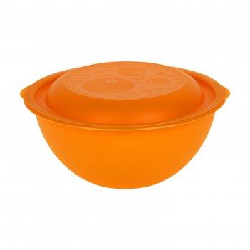 Миска салатница 3л с крышкой, цвет микс