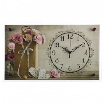Часы настенные, серия: цветы, цветочки в пакетике, микс 36х60 см