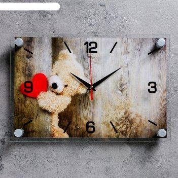 Часы настенные плюшевое сердце, 20х30 см