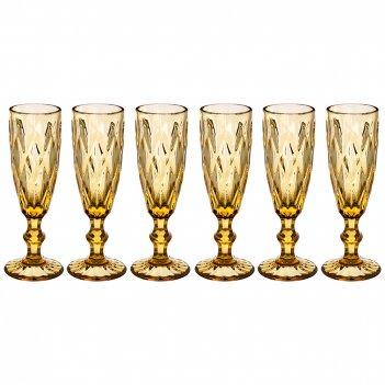Набор бокалов для шампанского ромбо 6шт. серия muza color 150мл. / в=20 см