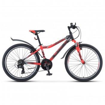 Велосипед 24 stels navigator-450 v 24 v030, цвет чёрный/неоновый/красный р