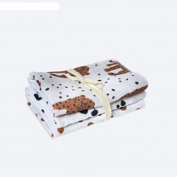 Набор салфеток, размер 25x25 см-3 шт, принт леопарды