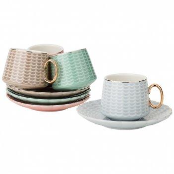 Кофейный набор на 4пер. 8пр. 90мл, 4 цвета: серый, кофейный, розовый, зеле