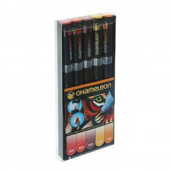 Маркер художественный, набор chameleon 5 цветов (двухсторонний/пулевидный)
