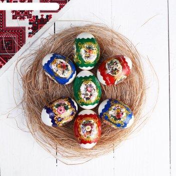 Пленка термоусадочная пасхальная цветы ретро на 7 яиц