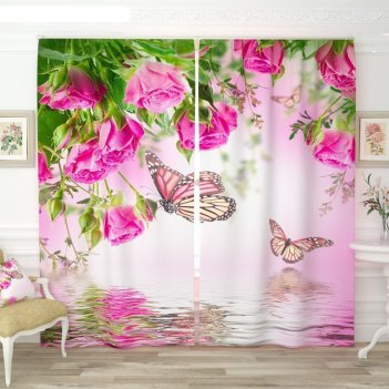 Фотошторы «бабочки у воды», размер 145 x 260 см, габардин