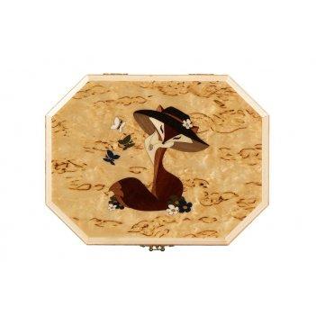 Шкатулка восьмигранная лисичка-модница из карельской березы 22х17х8,5см