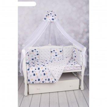 Комплект в кроватку wb, 15 предметов, бязь, цвет белый, принт космос