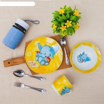 Набор детской посуды 3 предмета слоненок кружка 220 мл, миска 400 мл, таре