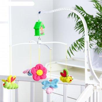 Мобиль на кроватку музыкальный бабочки, с мягкими игрушками, заводной меха