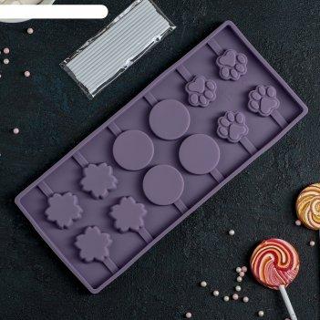Форма для леденцов и мороженого 12 ячеек 26,5х11,5х1,2 см вкусная сладость