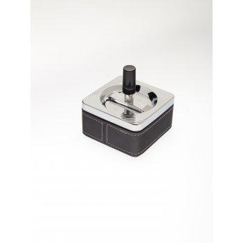 Пепельница s.quire квадратная, сталь, покрытие никель + искусственная кожа