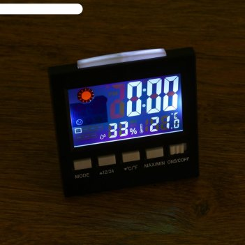 Часы настольные электронные: календарь, будильник, термометр, гигрометр 2