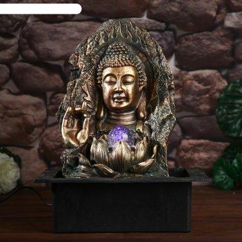 Фонтан настольный от сети, подсветка будда просветленный 39х23х31 см