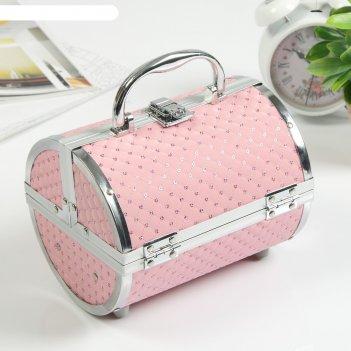 Шкатулка металлокаркас чемодан тубус нежно-розовый с пайетками 15х19х16 см