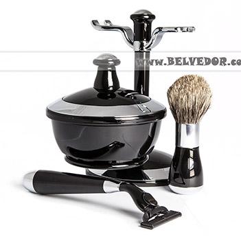 Комплект для бритья черный и серебро совместим с gillette mach-3
