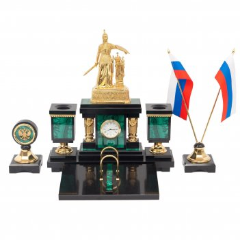 Настольный набор россия малахит бронза позолота