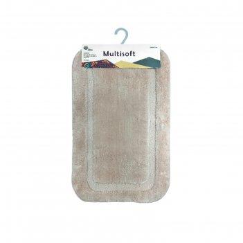 Коврик для ванной multisoft, 50х80 см, микрофибра плюш, ворс 20мм, цвет бе
