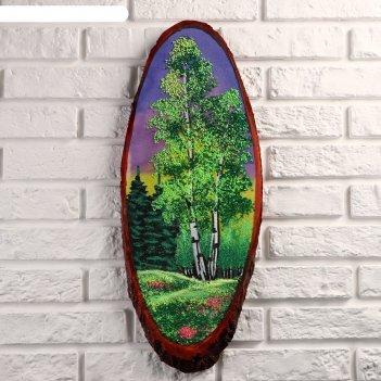 Картина лето на срезе дерева, каменная крошка, микс