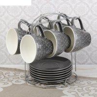Набор чайный акварель, 12 предметов: 6 кружек 240 мл, 6 блюдец, цвет серый